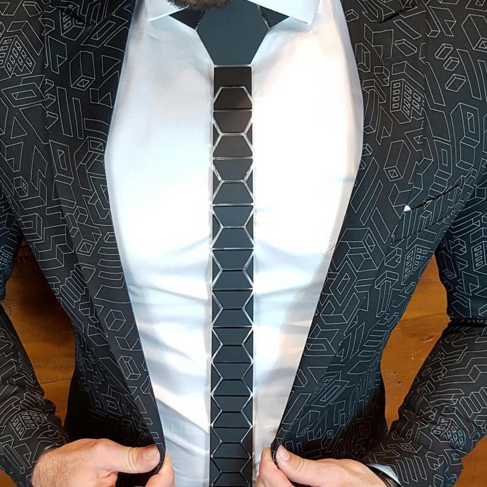 GEOMETIE Stylish Fashion Black Matte Diamond Shape Neckties Classic Style Skinny Men Black Ties