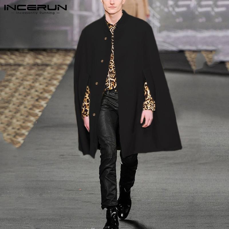 Winter Men Cloak Coats Solid Cape Faux Fleece Trench 2019 Fashion Streetwear Casual Stand Collar Jackets Overcoats S-5XL INCERUN