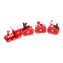 Christmas Multi-section Train Model Creative Wood Home Decoration Accessories Christmas Decorations For Home Christmas Gift 4 section little train christmas ornaments