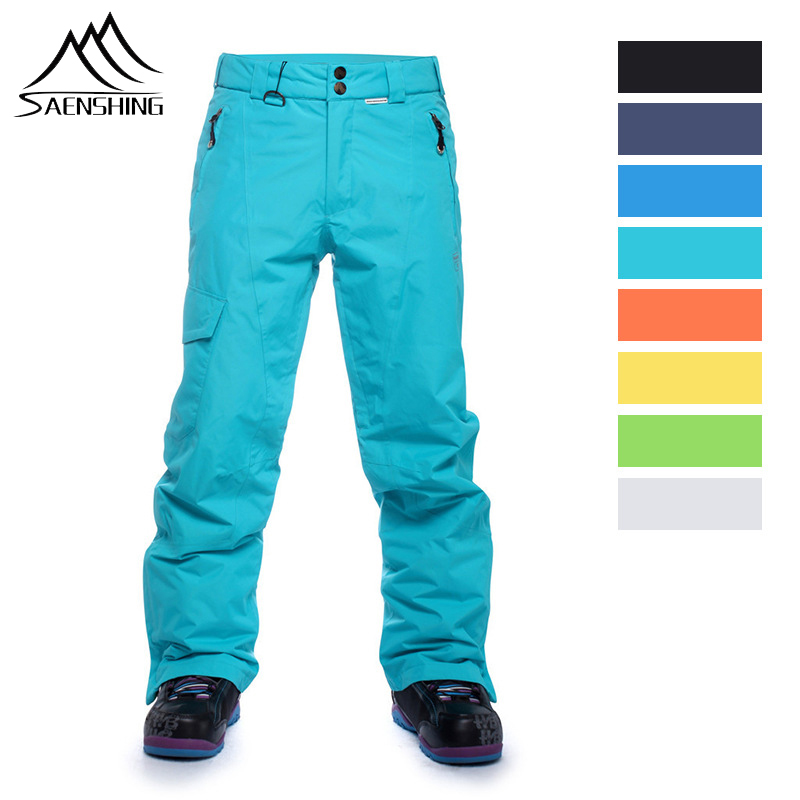 SAENSHING Winter Ski Pants Strapless Men Snow Thermal Warmth Trousers Hiking Snowboarding Pants Waterproof Windproof Trousers