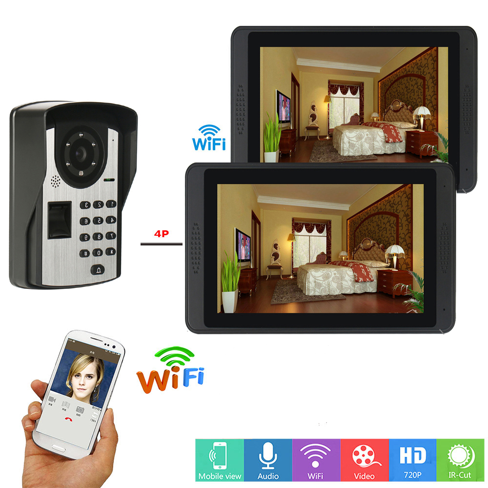 APP Control Video Intercom 7Inch LCD WIFI Wireless Video Door Phone Doorbell Intercom System RFID Password Fingerprint Camer KIT