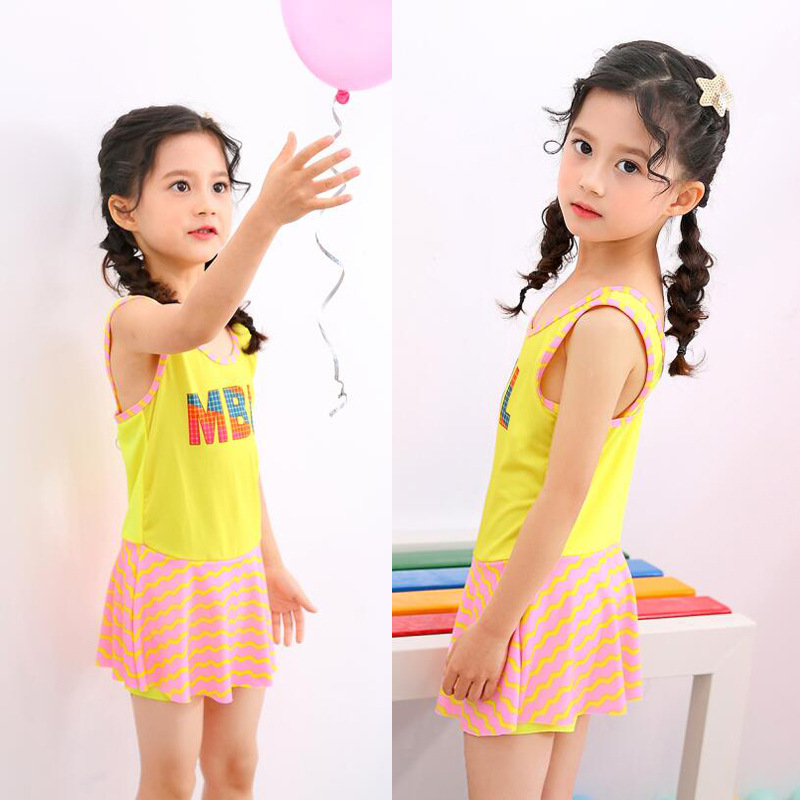 Girl'S Bathing Suit 2019 New Style Korean-style Students 2-6-Year-Old Students Sports One-piece Boxers CHILDREN'S Swimsuit