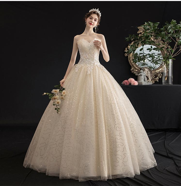 2019 New Shining Beading Lace Strapless Wedding Dress Classic Embroidery Lace Up Slim Princess Wedding Gown Robe De Mariee