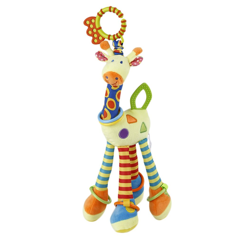 Baby Rattles Toys Pram Bed Bells Soft Giraffe Hanging Toy Animal Handbells Rattles Educational Mobiles Toys Hand Bell Rattle