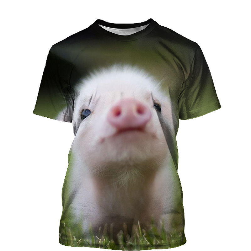 Cute Pig 3D Print T-shirt Women 2021 Summer New O Neck Short Sleeve Tees Tops Funny Outfit Style Female Clothes Casual T-shirts