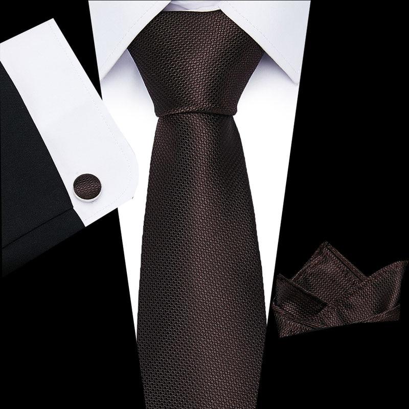 Classical Striped Tie For Mens 100% Silk Necktie Hanky Cuffink Set Jacquard Men Tie Gold Black Men Tie Set