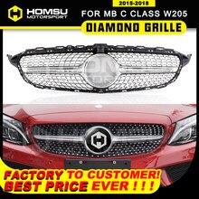 Pare-choc avant en diamant, calandre 2015 + 2019 C450 C250 C180 C200 C220, classe C w205, sans logo central