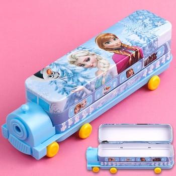 Frozen small train shape pencil case Disney Snow White Multifunctional double-layer pen box cartoon school supplies Girl gift