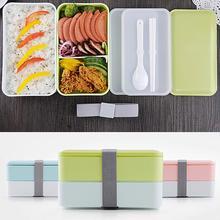 3 цвета в японском стиле двухслойный прямоугольный пластиковый Ланч-бокс для студентов пикника для бэнто, в упаковке, для разогревания в микроволновой печи духовка контейнер для еды