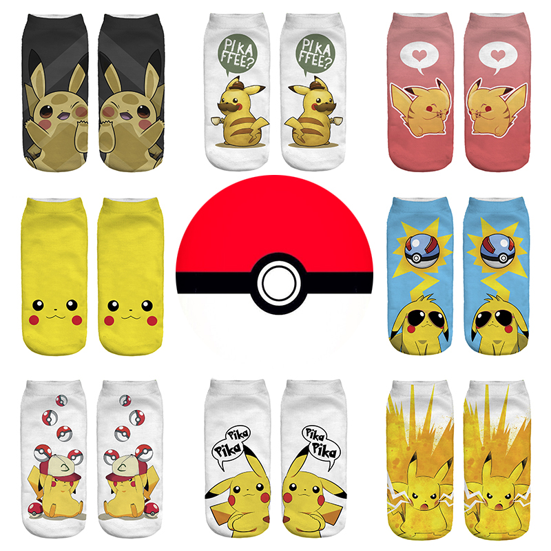 Kawaii Pokemon Pikachu Girl Boy Cotton Socks Funny Woman Cute Socks Japanese Cartoon Printed Man Short Socks