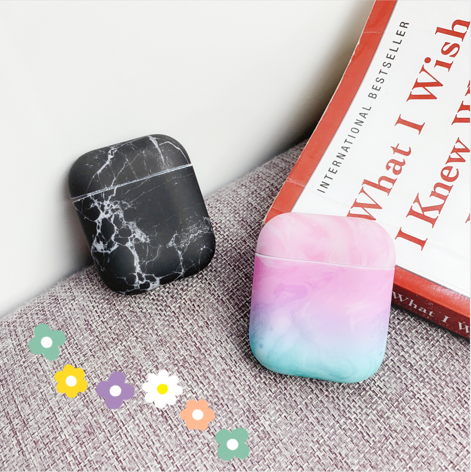 AirPods' Marble Pattern Protective Case Headphones Case Box Airpods 2 1 Protective Case Luxury Protective Earphone Case