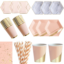 Pink Rose Gold Party Disposable Tableware Paper Plate Cups Straws Napkins Kids Birthday Baby Shower Party Wedding Decor Supplies