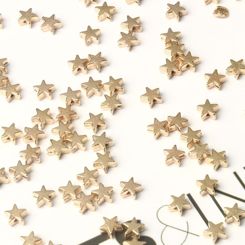 100 pçs contas de estrela forma pentagrama grânulos soltos preto hematite gall pedra contas needlework para charme jóias fazendo
