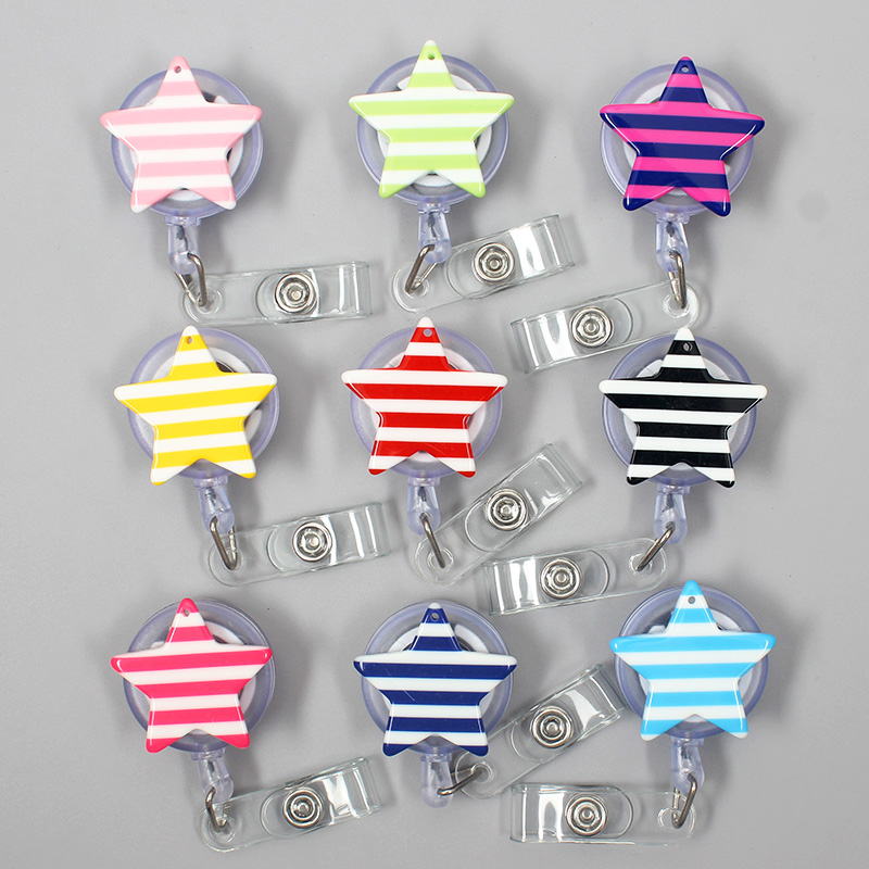 Creative Striped Fve-Pointed Resin Retractable Badge Reel Nurse Doctor Student Exhibition ID Card Clips Badge Holder Stationery