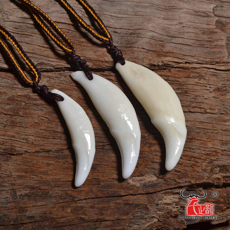 Naturalny naszyjnik z kości moda proste akcesoria punkowe męski prawdziwy ząb wisiorek tybetański Amulet kły biały wilk ząb urok