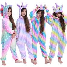 Unicorn Pajamas Onesie Children Sleepwear Panda-Stitch Flannel Kigurumi Girls Boys Kids