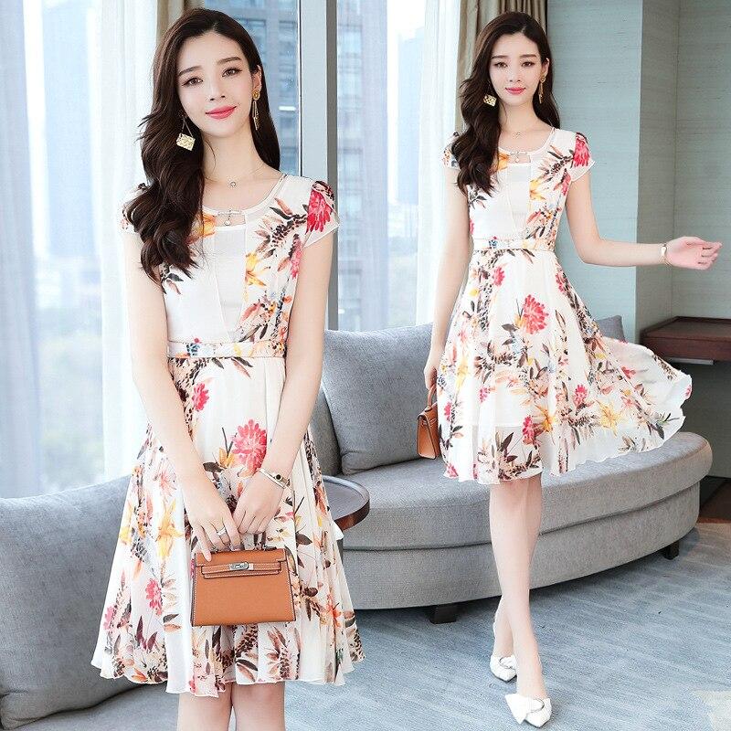 Short Sleeve Printed Chiffon Dress Women's 2019 Summer Wear New Style Mid-length Debutante Elegant Waist Hugging Slimming Floral