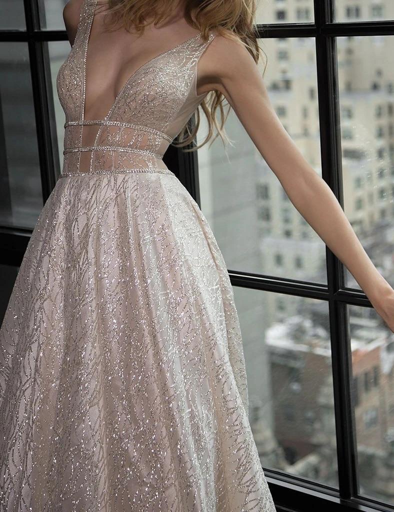 Image 2 - Long Dress For Evening Charming Deep V Neck A Line Floor Length Shiny Formal Dresses Custom Made Party Gowns HB005Evening Dresses   -