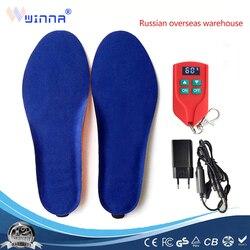 Nueva Plantilla de calefacción inalámbrica de 2000mAh zapatos calientes de invierno plantillas de Control remoto de carga de batería de calefacción de tamaño EUR 35-46 #