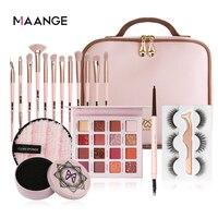 MAANGE Pro 12 teile/los Make-Up Pinsel Set pinsel Make-Up pinsel Reiniger schwamm & 16 farbe Lidschatten-palette & geschenk tasche verpackung Neue