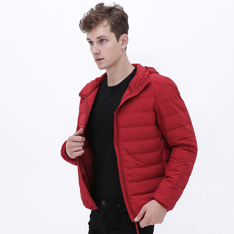 New Man Ultra Light Down Jacket Hooded Soft Matt Fabric Waterproof Down Jackets Seamless Winter Autumn Warm Down Coat
