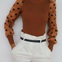 Women Spring Mesh Puff Long Sleeve Ribbed Knitted Shirt Loose Casual Polka Dots