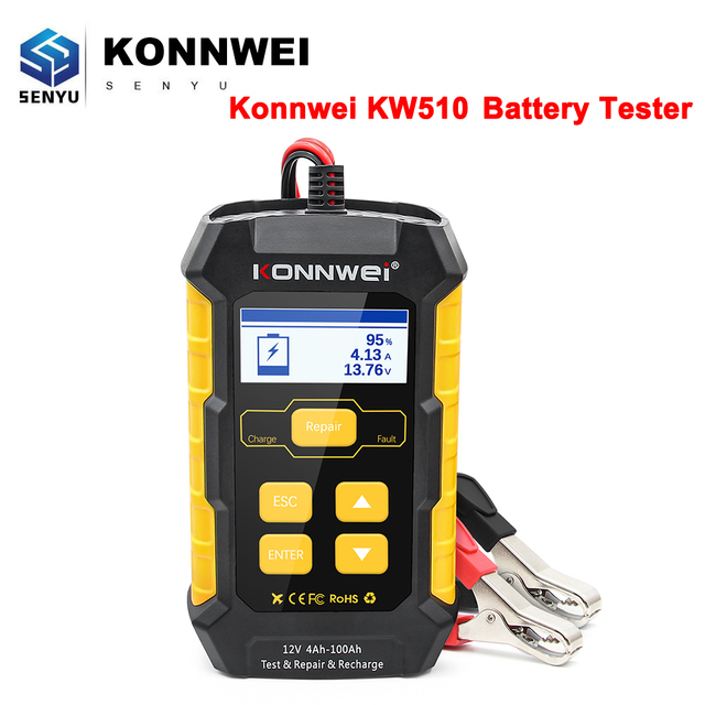 KONNWEI KW510 Volle Auto Batterie Tester 12V 5A Puls Reparatur Auto Ladegeräte Nass Trocken Blei Säure netzteil Auto batterie Reparatur Werkzeug