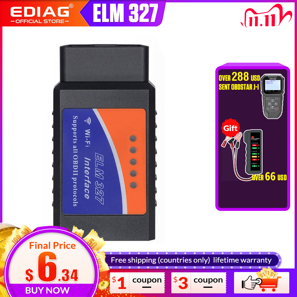 OBD2 ELM327 V1 5 Bluetooth WIFI Car Diagnostic Tool ELM 327 OBD Code Reader Chip PIC18F25K80 Work Android IOS Windows 12V Car