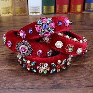 Женский ободок в стиле барокко, роскошный розовый и красный ободок с кристаллами, украшенный стразами и жемчугом, свадебный аксессуар для в...