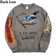 DarkไอคอนโครงกระดูกHip Hopเสื้อกันหนาวผู้ชายรอบคอPulloverผู้ชายเสื้อ2019ฤดูใบไม้ร่วงStreetwearเสื้อสำหรับชาย