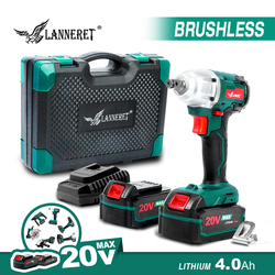 LANNERET Brushless Impact Wrench Cordless Wrench 20V Electric Wrench 4.0Ah Li-ion 2 speed 280N.m Car Repair Store