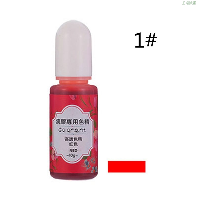 13 Colors Epoxy UV Resin Coloring Dye Liquid Epoxy Pigment Resin Colorant Fading Resistance10ml Translucent PXPC 4