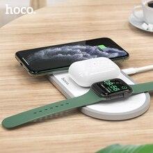 HOCO 3 в 1 Беспроводное зарядное устройство для iphone 11 Pro X XS Max XR для Apple Watch 5 4 3 2 Airpods Pro Быстрая зарядка Подставка для Samsung S20