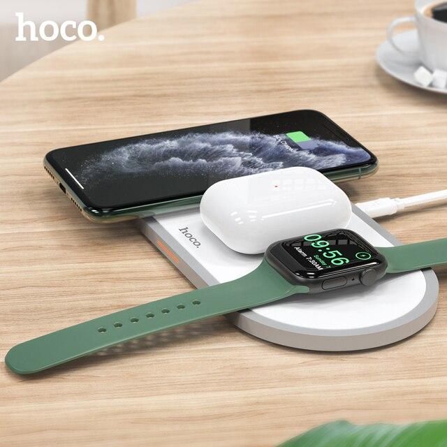 HOCO cargador inalámbrico 3 en 1 para iphone 11 Pro, X, XS, Max, XR, Apple Watch 5, 4, 3, 2, Airpods Pro, soporte de carga rápida para Samsung S20