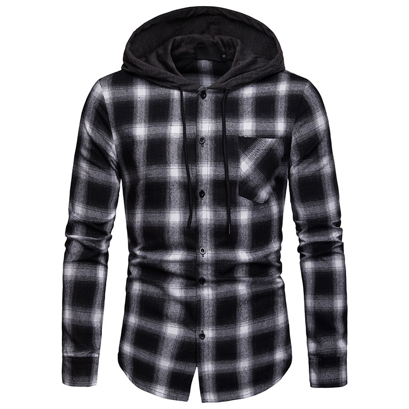 Men Plaid Shirts New Fashion Korean Wild Long Sleeve Flannel Hooded Shirt Casual Slim Fit Plus Size Cotton Men Clothes Red - 5