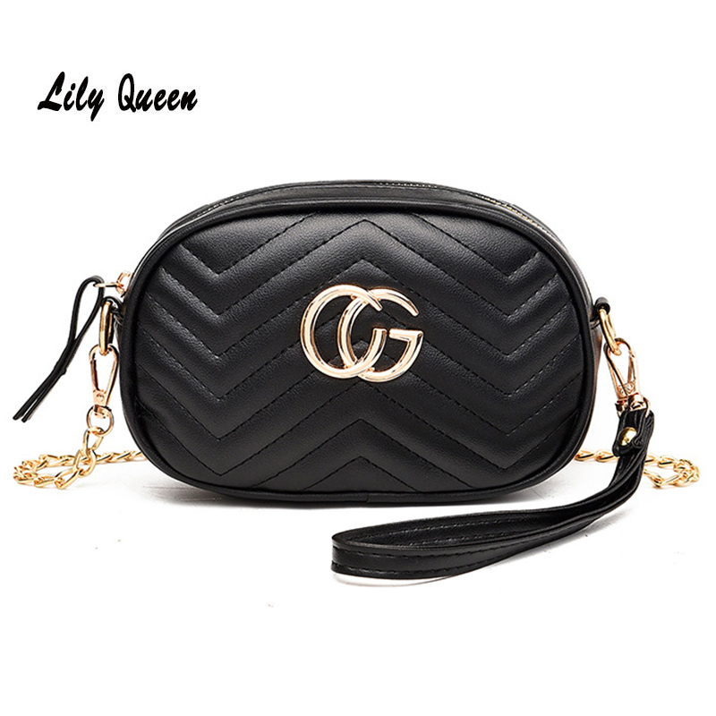 LILY QUEEN Fashion Circular Messenger Bag Letter Embroidery Zipper Crossbody Bags For Women