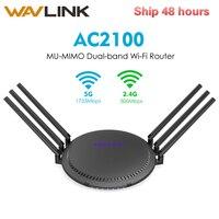 Wavlink AC2100 MU-MIMO 듀얼 밴드 스마트 와이파이 라우터 전체 기가비트 터치 링크 무선 와이파이 라우터 5 GHz/1733 Mbps + 2.4 GHz/300 Mbps