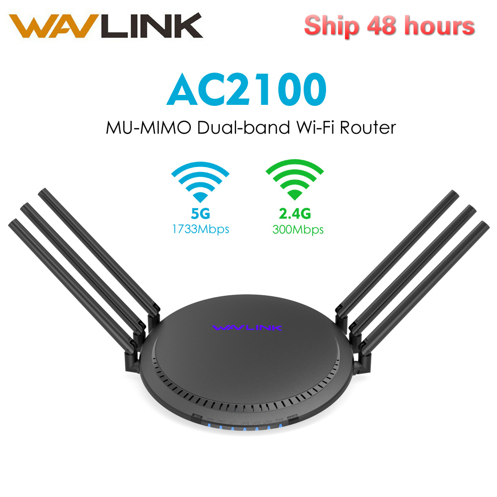 Wavlink AC2100 MU-MIMO Dual-band Smart Wi-Fi Router Full Gigabit Touchlink Wireless WiFi Router 5GHz/1733Mbps+2.4GHz/300Mbps