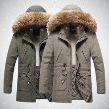 Men's Jacket Winter Parka Coat Fur-Collar Drawstring Warm Thick Outdoor Waist Cotton