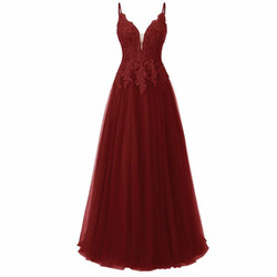 Elegant Long Bridesmaid Dresses With Lace Applique A Line Spaghetti Strap Floor Length Prom Gowns Wedding Party Guest Dress Gown