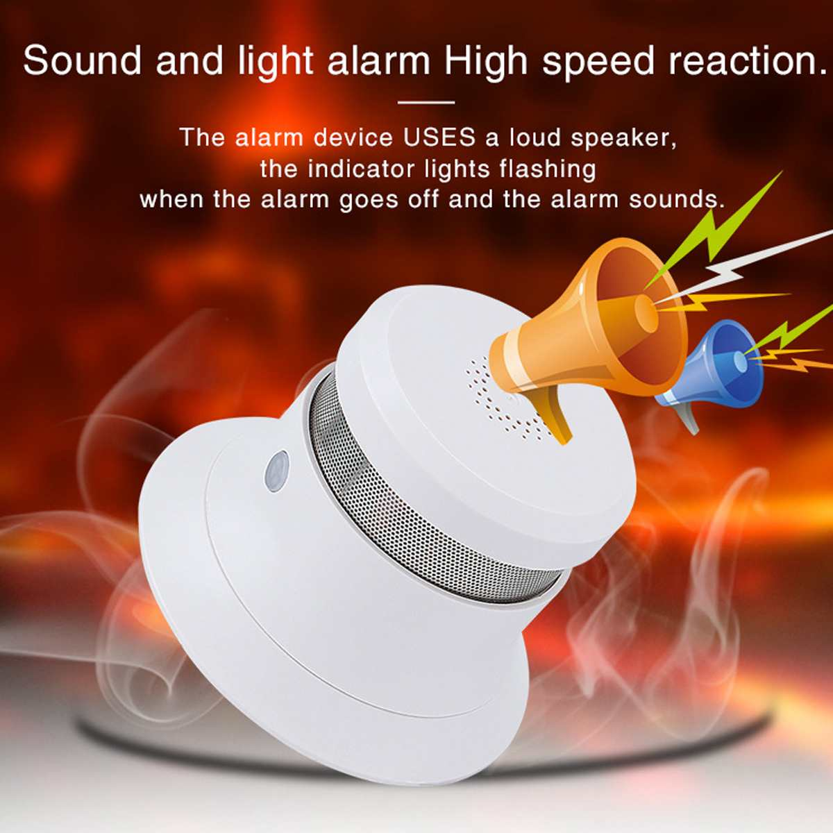 Wall Mounted Portable Wireless Smoke Alarm Detector Sensor Hoisting Mounted  for Fires Sound Alarm Home Security Alarm System