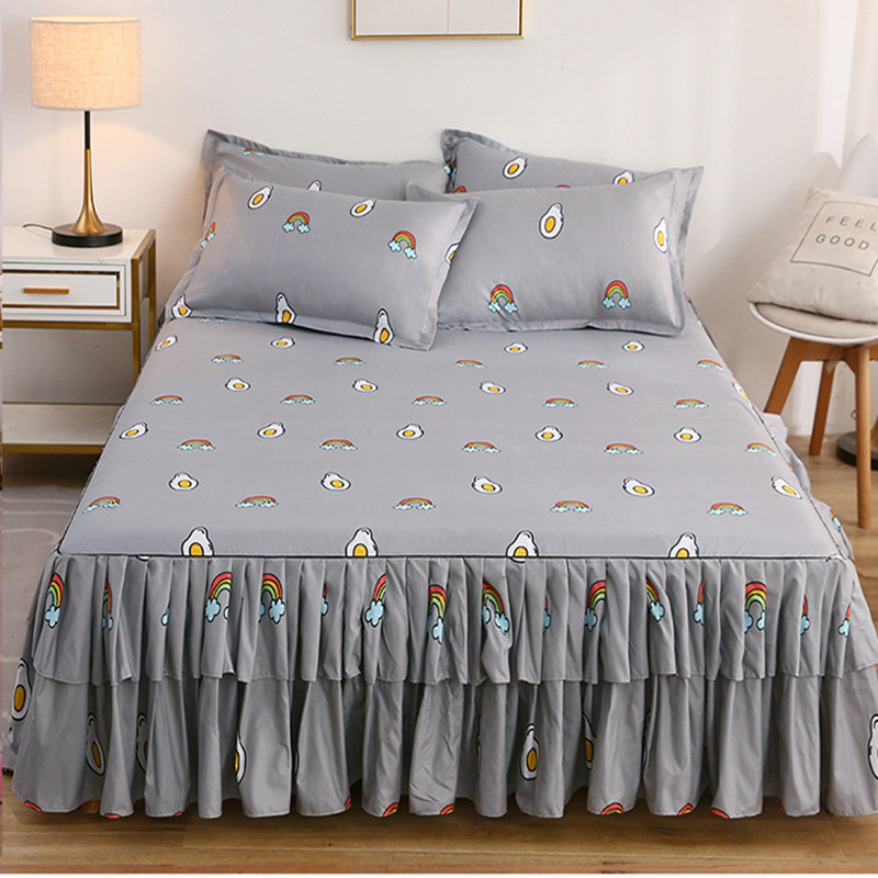 Cilected 3pcs/set Cotton Print Bed Skirt Ins Princess Style Cute Cartoon Bed Cover Student Dormitory Non-slip Bed Sheet Decor