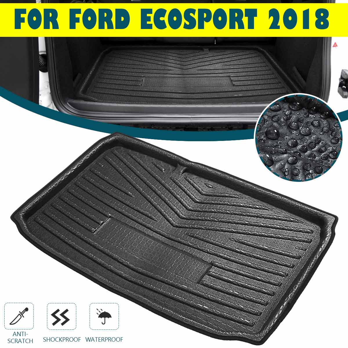 Boot Cargo Liner Rear Trunk Mat Liner Floor Carpet Luggage Cargo Tray  For Ford EcoSport 2018 2019 2020+ Kick Pad Mud Non-slip