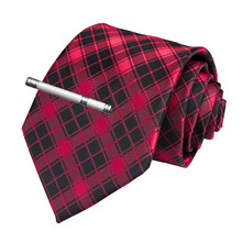 Fashion Men Tie Red Black Plaid Wedding For Hanky Cufflink Clip Set DiBanGu Designer Silk Dropshipping  MJ-7172