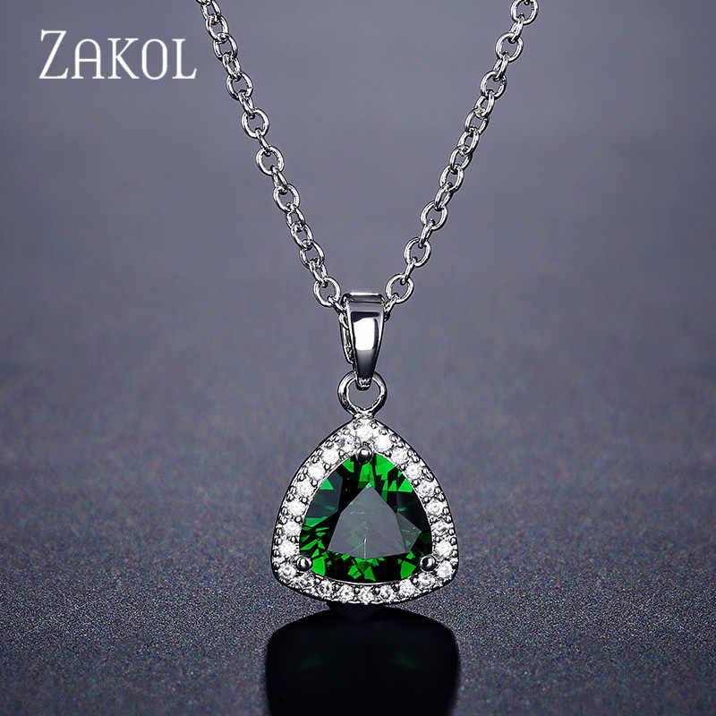 ZAKOL delikatny niebieski zielony trójkąt Cubic naszyjnik cyrkoniowy wisiorek dla kobiet Fashion Party biżuteria prezent dla dziewczyny FSNP2088