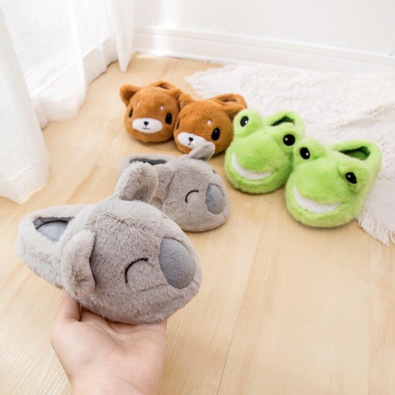 Girls Kids Unicorn Fox 3D Animal Slippers House Bedroom Warm Fuzzy Slip on Shoes