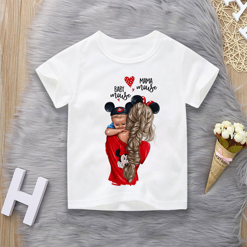 Funny Super Mom Beautiful Pattern Printing T Shirt For Boys Kids Baby Mouse Baby Shirt Fashion Casual Child Clothes Short Sleeve