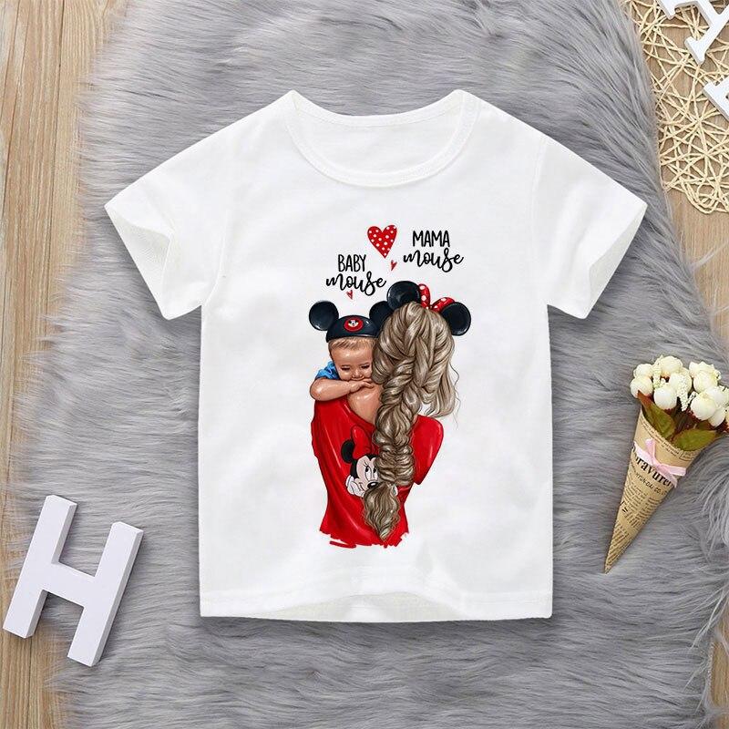 T-shirt manches courtes garçon   Décontracté et à la mode, avec impression de beaux motifs de maman, pour enfants et bébés Mouse