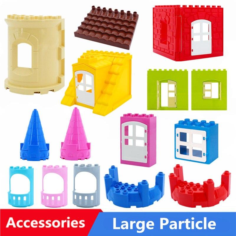 Diy Большие размеры строительные блоки домик-замок крыша окна двери аксессуары совместимы с дублированные игрушки для Дети Детские подарки