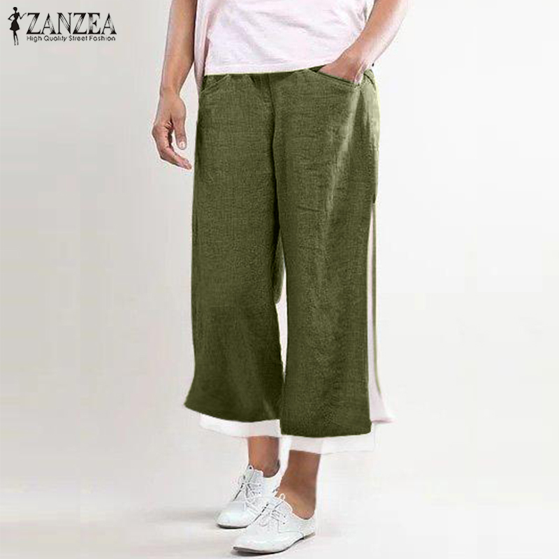 Fashion ZANZEA SummerElastic Waist   Wide     Leg     Pants   WomenTrousers Casual Loose Harem   Pants   Femme Split Hem Pantalon Robe Kaftan
